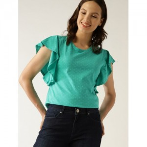 United Colors of Benetton Women Green Printed Top