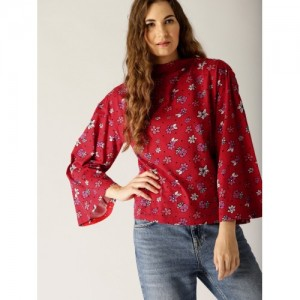United Colors of Benetton Women Red Printed Top