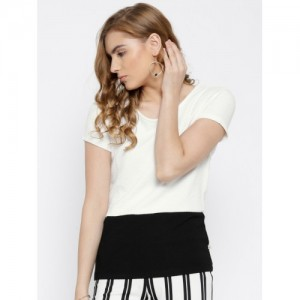 United Colors of Benetton Off-White & Black Panelled Top