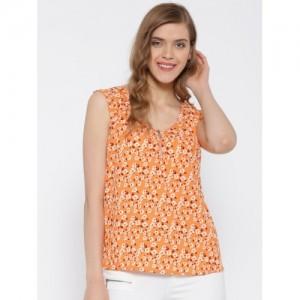 United Colors of Benetton Women Orange Printed Top