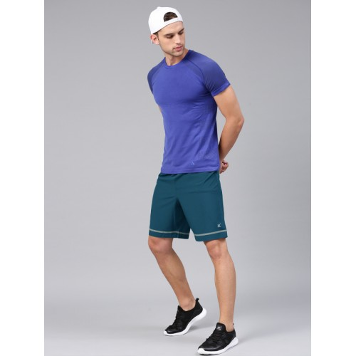HRX by Hrithik Roshan Teal Blue Solid Regular Fit Sports Shorts