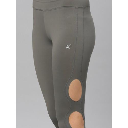 HRX by Hrithik Roshan Women Grey Solid Three-Fourth Length Tights