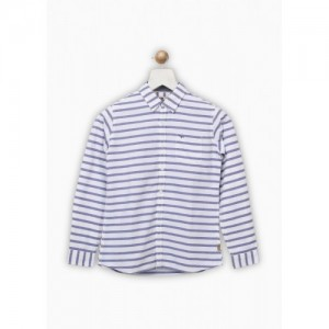 Flying Machine Boys Striped Casual Blue Shirt