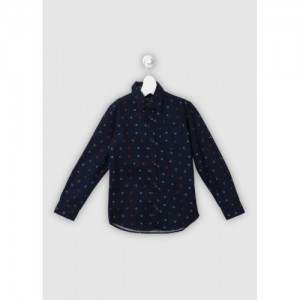 Flying Machine Boy's Printed Casual Dark Blue Shirt