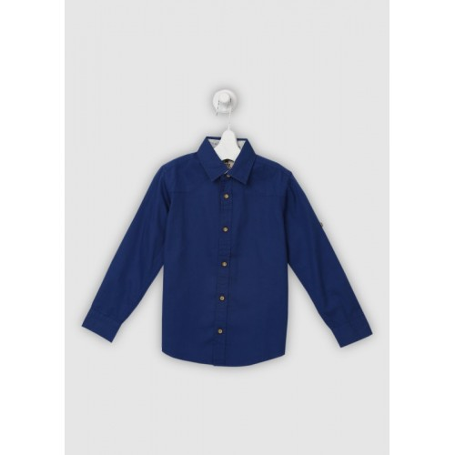 Flying Machine Boys Solid Casual Blue Shirt