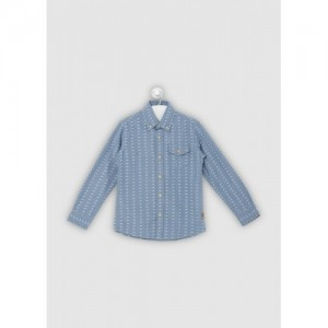 Flying Machine Boys Printed Casual Blue Shirt