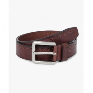 FLYING MACHINE Textured Leather Belt with Perforations