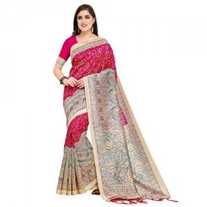Blissta Pink Khadi Silk Printed Saree