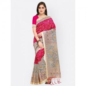 Blissta Pink & Beige Art Silk Printed Khadi Saree