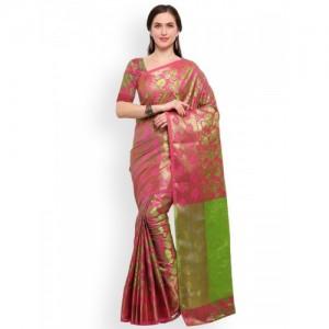 Blissta Women Pink & Green Pure Silk Woven Design Patola Saree
