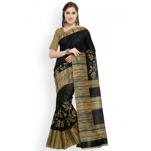 Blissta Black Art Silk Bhagalpuri Printed Saree