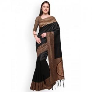 Blissta Black Printed Kalamkari Mysore Silk Saree