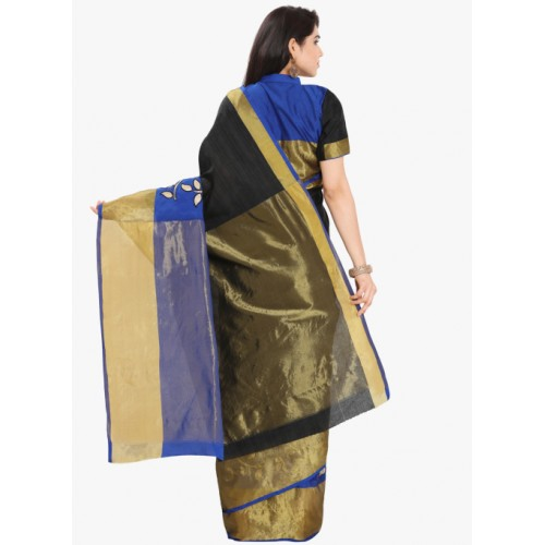 Blissta Black Silk Solid Patchwork Saree