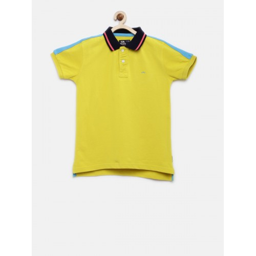 Flying Machine Boys Yellow Solid Polo Collar T-shirt