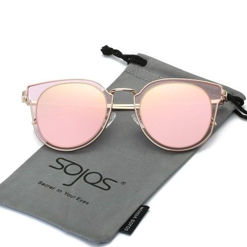 SojoS Fashion SJ1057 Pink Mirror Polarized Sunglasses