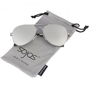 SOJOS SJ1030 Grey Aviator Mirrored Flat Lens Sunglasses