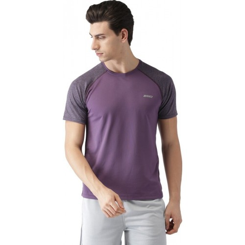 2GO Solid Men Round Neck Purple T-Shirt