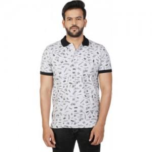 27Ashwood Printed Men Polo Neck Grey T-Shirt