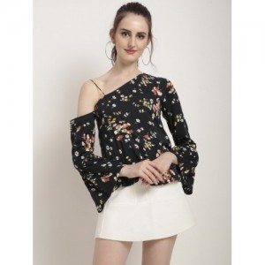 Rare Casual Bell Sleeve Printed Women's Black Top