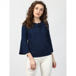 078180f4b89 Buy Rosella Blue with White Dot Bell Sleeve Top online