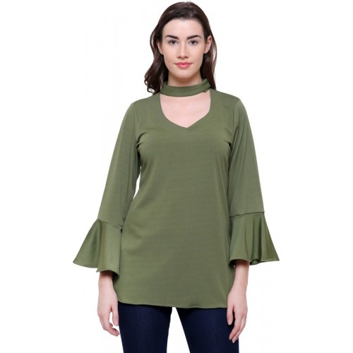 Fangio Casual Bell Sleeve Solid Women's Green Top