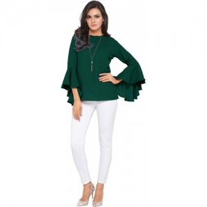 Serein Formal Bell Sleeve Solid Green Top