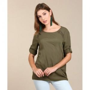 Vero Moda Casual Roll-up Sleeve Self Design Women's Green Top