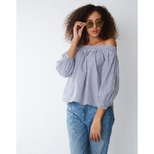 Provogue Casual Bishop Sleeve Striped Women's Grey Top
