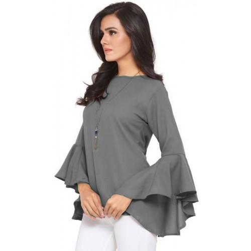 86576c27746b9 Buy VAANYA Casual Bell Sleeve Solid Women s Grey Top online ...