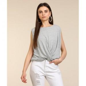 Vero Moda Casual Sleeveless Self Design Women's Grey Top