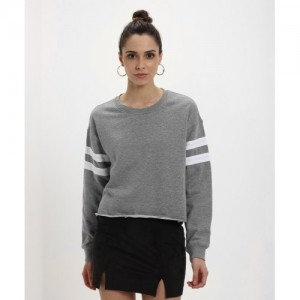 Forever 21 Casual Full Sleeve Solid Women's Grey Top