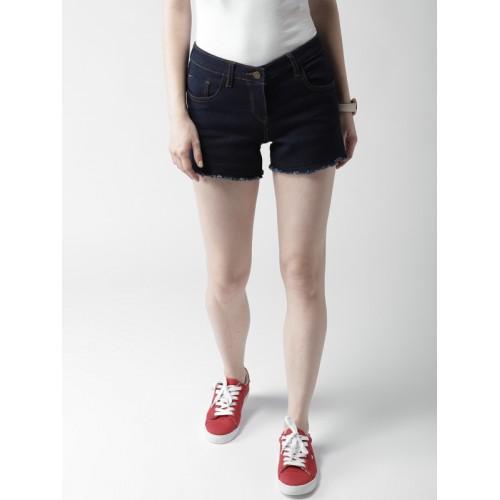 Mast & Harbour Women Navy Blue Solid Regular Fit Denim Shorts