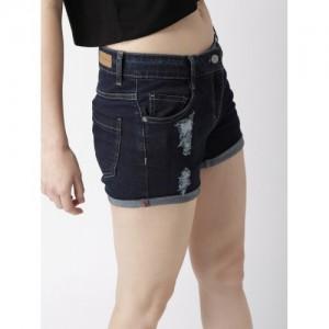 Mast & Harbour Black Solid Regular Fit Denim Shorts