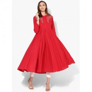 Sangria Red Cotton Casual Kurta
