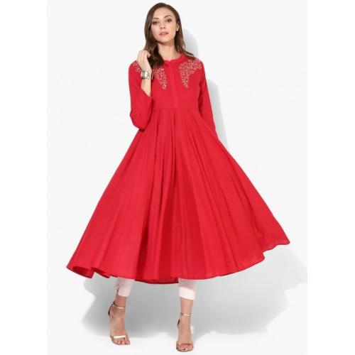 Sangria Red Cotton Casual Kurta