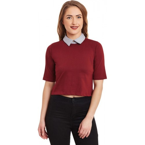 Miss Chase Casual Short Sleeve Solid Women's Maroon Top