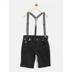 15d94d1accf0 United Colors of Benetton Boys Black Solid Shorts with Suspenders