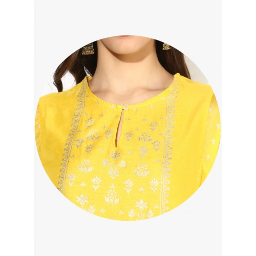 Biba Yellow Printed Kurta