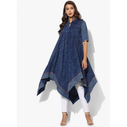 Sangria Printed Band Collar High Low Flared Kurta With Elbow Length Sleeves