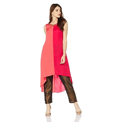 Indi lite Coral red Solid Women's High Low Kurta