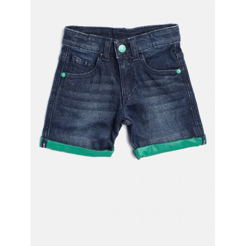 United Colors of Benetton Boys Navy Blue Washed Regular Fit Denim Shorts