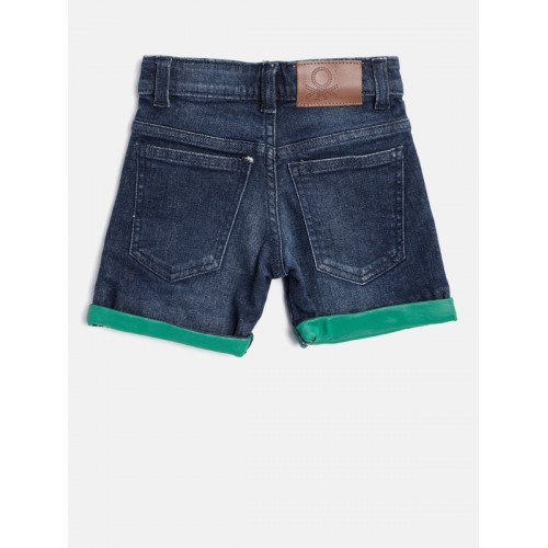 United Colors of Benetton Boys Navy Blue Washed Regular Fit Denim Shorts