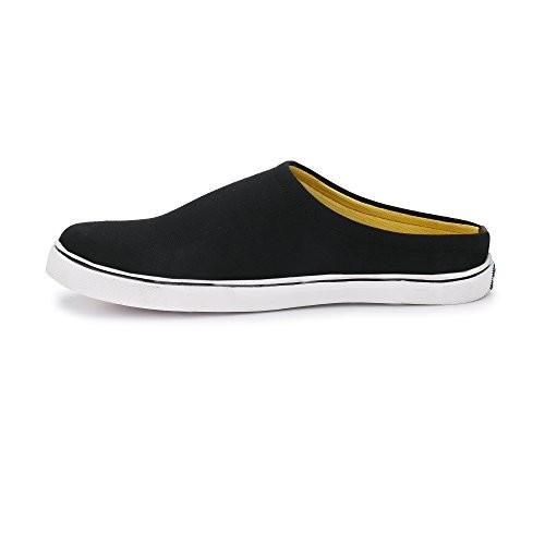 Zebx Men Black Canvas Open Toe Sneakers