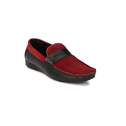 Zebx Black Slip On Leather Loafer for Mens