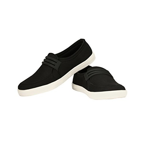 Zebx Men Black Canvas Mocassins