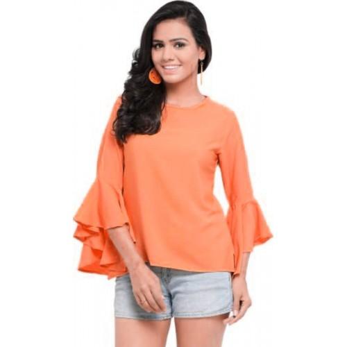 fbf0cffba6980 Buy VAANYA Casual Bell Sleeve Solid Women s Orange Top online ...