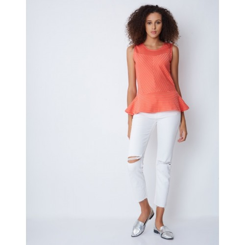 Provogue Casual Sleeveless Striped Women's Orange Top