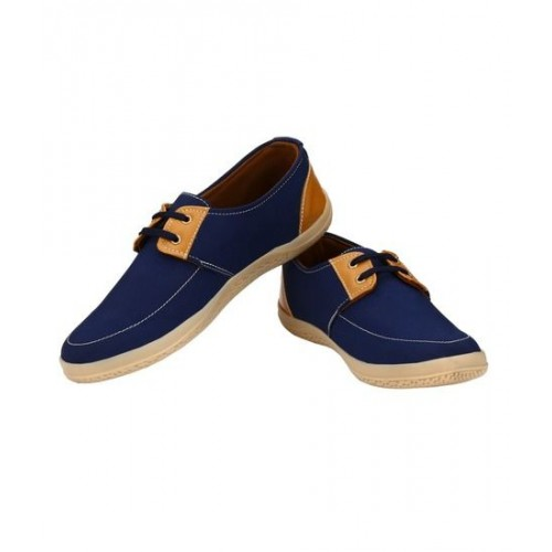 Zebx Men's Blue Brown multi color Canvas Shoes