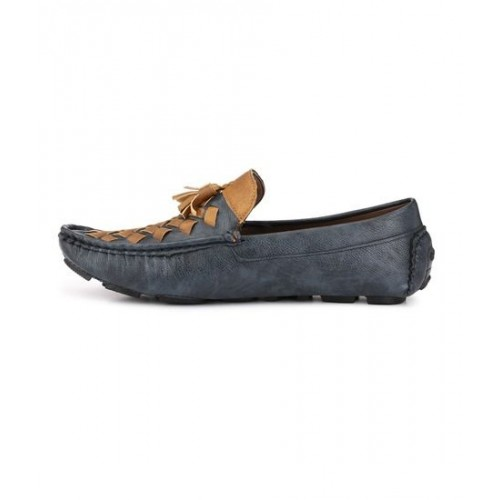ZebX Men Grey Brown multi color Synthetic Loafers