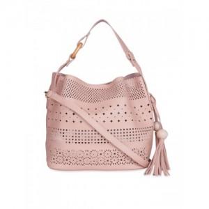 Fur Jaden Pink Self Design Shoulder Bag